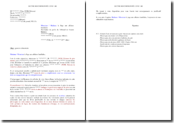 Lettre de demande d'officialisation de pension alimentaire