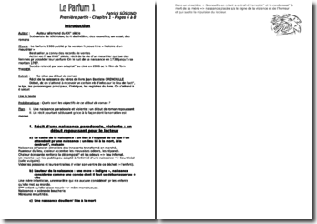 Patrick Süskind, Le Parfum, Chapitres 1, 8, 29 et 51 : résumé