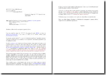 Lettre de demande de recours devant la commission d'appel après décision de redoublement