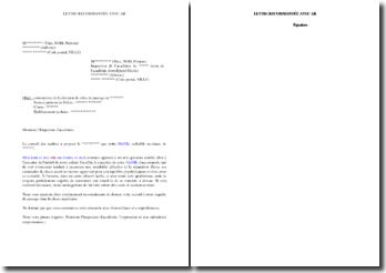Lettre de contestation de la décision de redoublement prise par le conseil des maîtres
