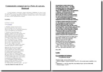 Rimbaud, Les Poètes de sept ans, Extrait : plan détaillé de commentaire