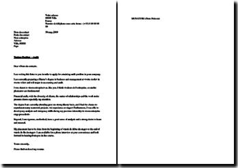 Cover letter for audit internship