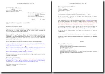 Lettre de demande en décharge gracieuse de responsabilité adressée à la Trésorerie générale