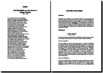 D'Aubigné, Les Tragiques, Livre I, Vers 97 à 131 : commentaire composé