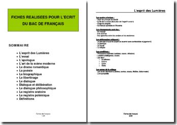Fiches de révision pour l'écrit du Bac de Français