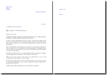 Lettre de motivation pour intégrer un Master II de Droit européen