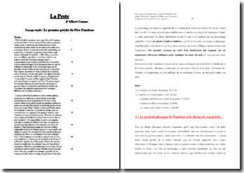 Camus, La Peste, Le premier prêche du Père Paneloux : étude linéaire