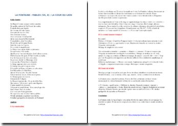 La Fontaine, Fables, La Cour du Lion : commentaire composé