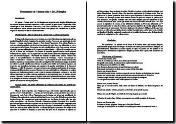 Léopold Sédar Senghor, Femme noire : commentaire composé