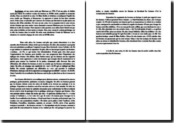Marivaux, La Colonie, Scène 13, La femme au coeur du débat : commentaire