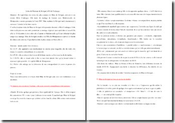 Lettre de Mme de Sévigné à M. de Coulanges : commentaire composé
