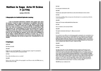 Gotthold Ephraïm Lessing, Nathan le Sage, Acte III scène 7