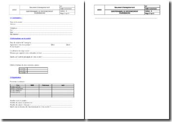 Document d'enregistrement : questionnaire de référencement fournisseur