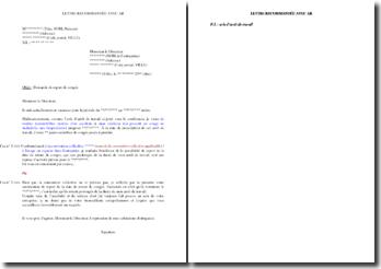 Lettre de demande de report de congés payés pour cause d'arrêt de travail pendant les vacances
