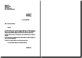 Modèle de lettre de réclamation
