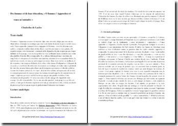 Choderlos de Laclos, Des femmes et de leur éducation, Extrait : commentaire composé