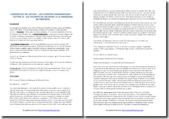 Choderlos de Laclos, Les Liaisons dangereuses, Lettre IV : commentaire composé