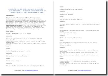 Marivaux, Le Jeu de l'amour et du hasard, Acte III scène 2 : commentaire composé