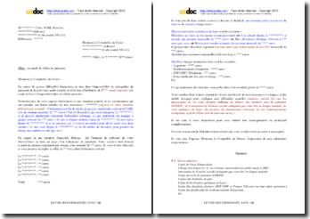 Lettre de demande de délais de paiement de la redevance audiovisuelle en raison de graves difficultés financières