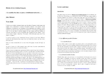 Michelet, Histoire de la révolution française, Extrait : commentaire composé