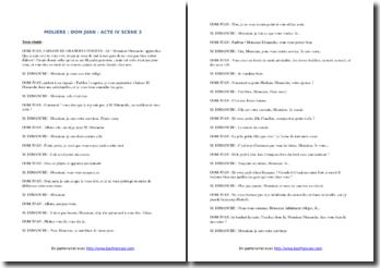 Molière, Dom Juan, Acte IV scène 3 : commentaire composé