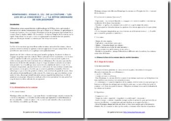 Montaigne, Essais, De la coutume (I, 23) : commentaire composé