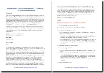 Montesquieu, Lettres persanes, Lettre LXXIV (74) : commentaire composé