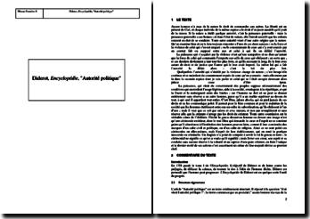 Diderot, Encyclopédie, Autorité politique : commentaire