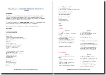 Paul Celan, La Rose de personne, Couronné dehors... : commentaire composé