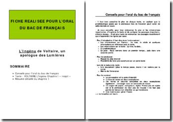 Voltaire, L'Ingénu, Chapitre I : plan détaillé de commentaire