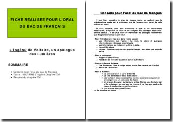 Voltaire, L'Ingénu, Chapitre XVI : plan détaillé de commentaire