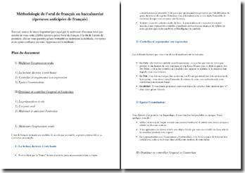Methode pour réussir l'oral du bac de Français