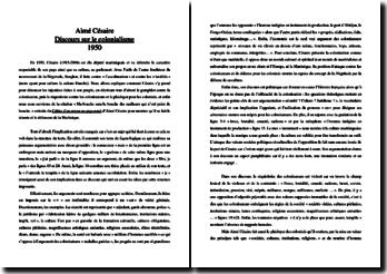 Aimé Césaire, Discours sur la colonisation : commentaire