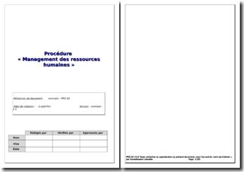 Procédure Management des Ressources Humaines