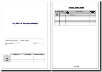 Exemple de procédure qualité Relations clients