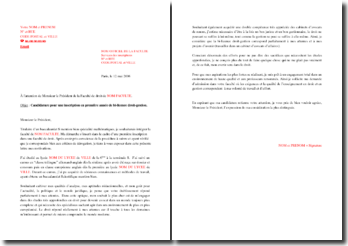 Lettre de motivation pour une admission en bi-licence droit-gestion