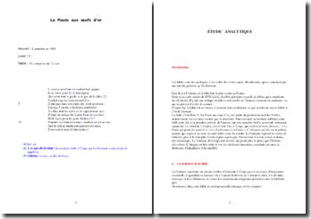 Jean de la Fontaine, La poule aux oeufs d'or : analyse