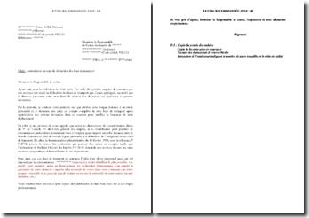 Lettre de contestation après rejet de déduction de frais de transport