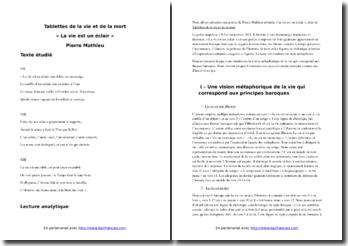 Pierre Mathieu, Tablettes de la vie et de la mort, La vie est un éclair : commentaire composé