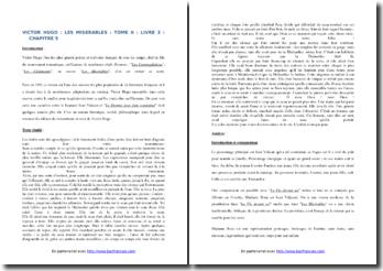 Victor Hugo, Les Misérables, Tome II, Livre 3, Chapitre 5, Extrait : commentaire composé