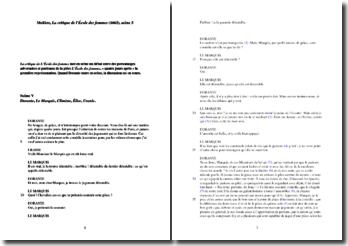 Molière, La Critique de l'école des femmes, Scène 5 : commentaire