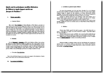 Quels sont les principaux modèles littéraires de Diderot et quels impacts ont-ils sur Jacques le Fataliste ?