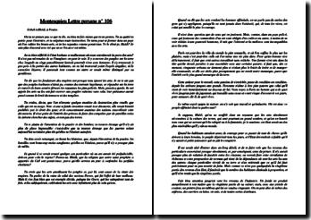 Montesquieu, Lettres persanes, Lettre CVI : commentaire