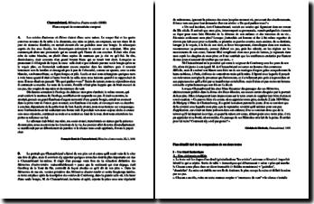 Chateaubriand, Mémoires d'outre-tombe, Livre III, Chapitre 3, Extrait et Ghislain de Diesbach, Chateaubriand, Extrait : plan détaillé de commentaire