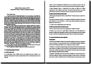 Laclos, Les Liaisons dangereuses, Lettre XXV : plan détaillé de commentaire