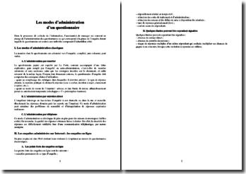Les modes d'administration d'un questionnaire