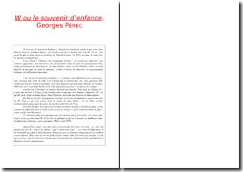 Georges Perec, W ou le souvenir d'enfance, Chapitre 2, Extrait : commentaire composé