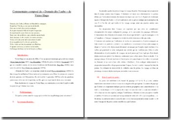 Victor Hugo, Les Contemplations, Demain dès l'aube : commentaire composé