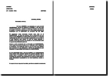 Lettre de motivation pour une université en espagnol / Carta de presentación para una universidad