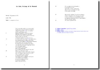 La Fontaine, Fables, Le Lion, le Loup et le Renard : analyse